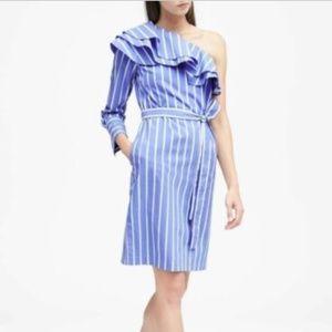 Banana Republic One Shoulder Striped Shirt Dress